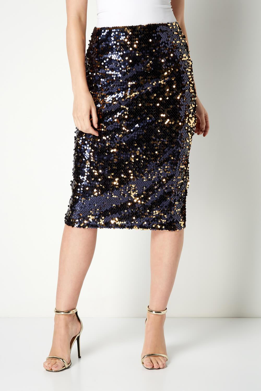 Roman Originals Women/'s Sparkly Sequin Midi Skirt
