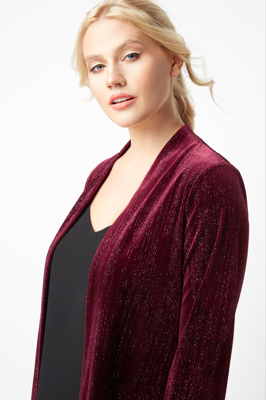 Roman Originals Women Glitter Velour Long Sleeve Jacket