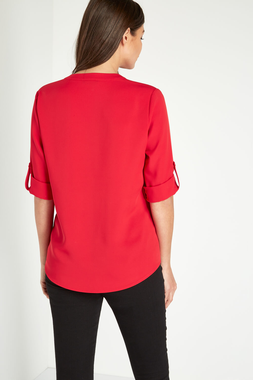 Roman Originals Ladies Roll Sleeve Top Red