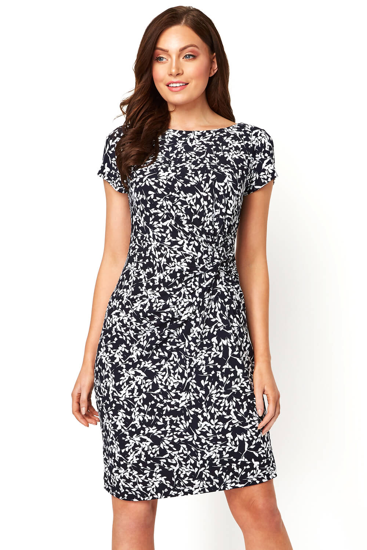 Roman Originals Women Leaf Twist Waist Short Sleeve Dress