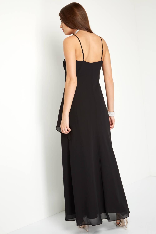 Roman Originals Ladies Black Embellished Chiffon Maxi Dress