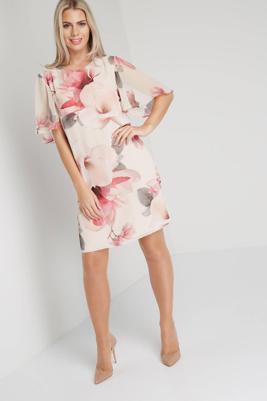 Roman Originals Women/'s Pink All Over Floral Print Chiffon Dress Sizes 10-20