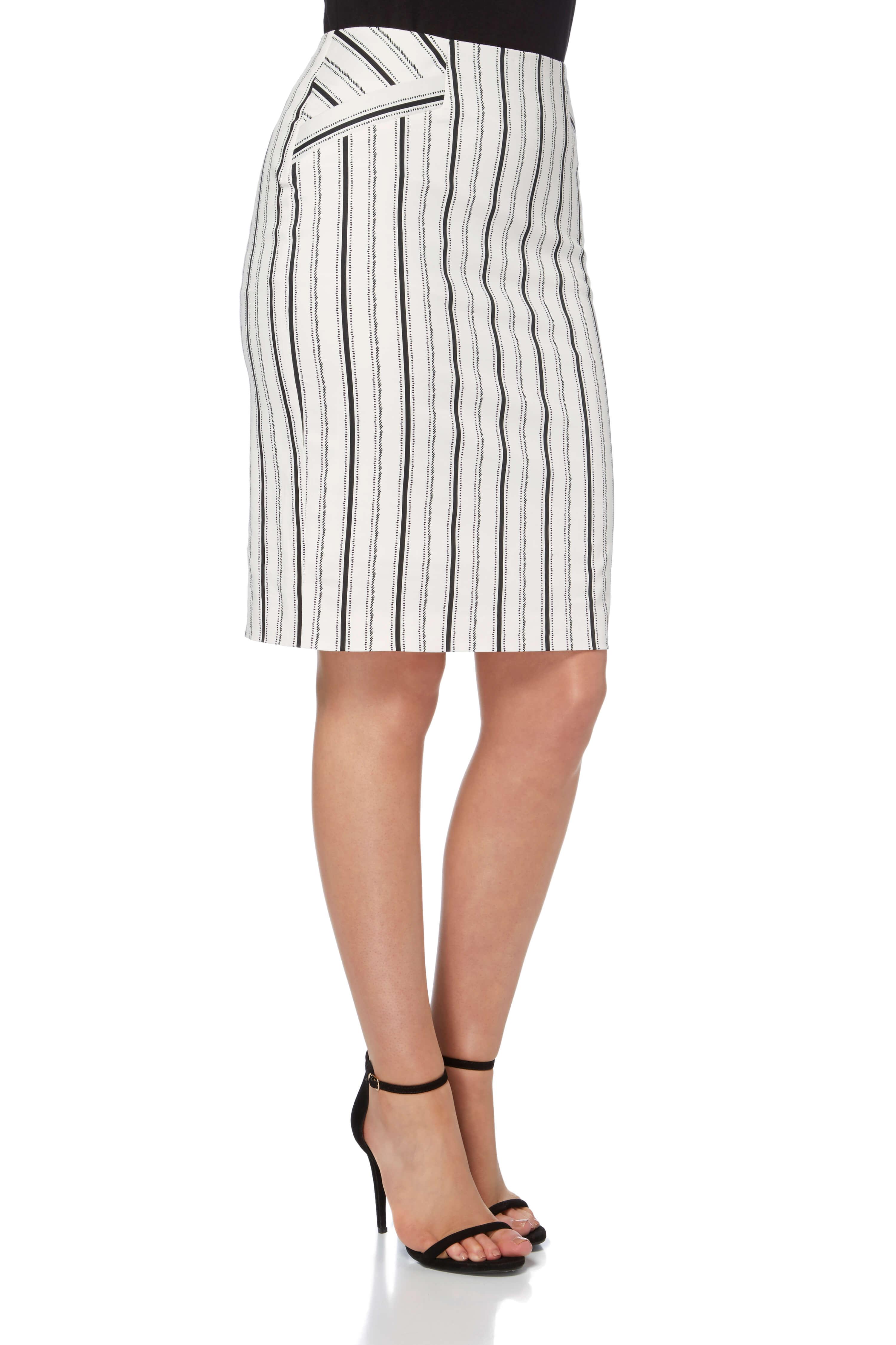 Roman Originals Ladies Cotton Stripe Pencil Skirt Ivory