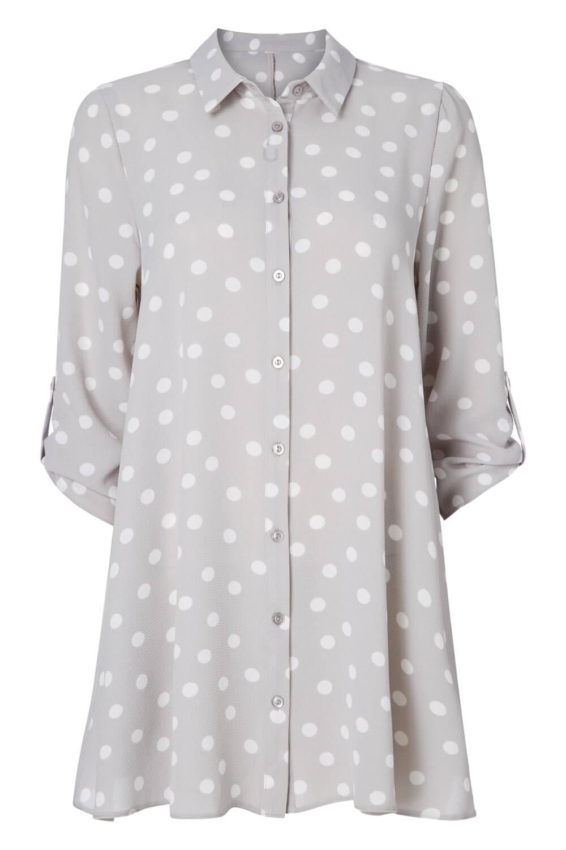 Roman Originals Women/'s Silver Polka Dot Print Blouse Sizes 10-20