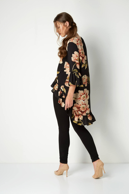 Roman Originals Women/'s Black Dipped Hem Floral Top Sizes 10-20