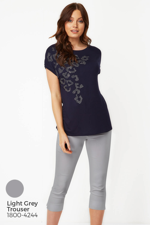 Roman Originals Women Short Sleeve Animal Print Stud T-Shirt Top