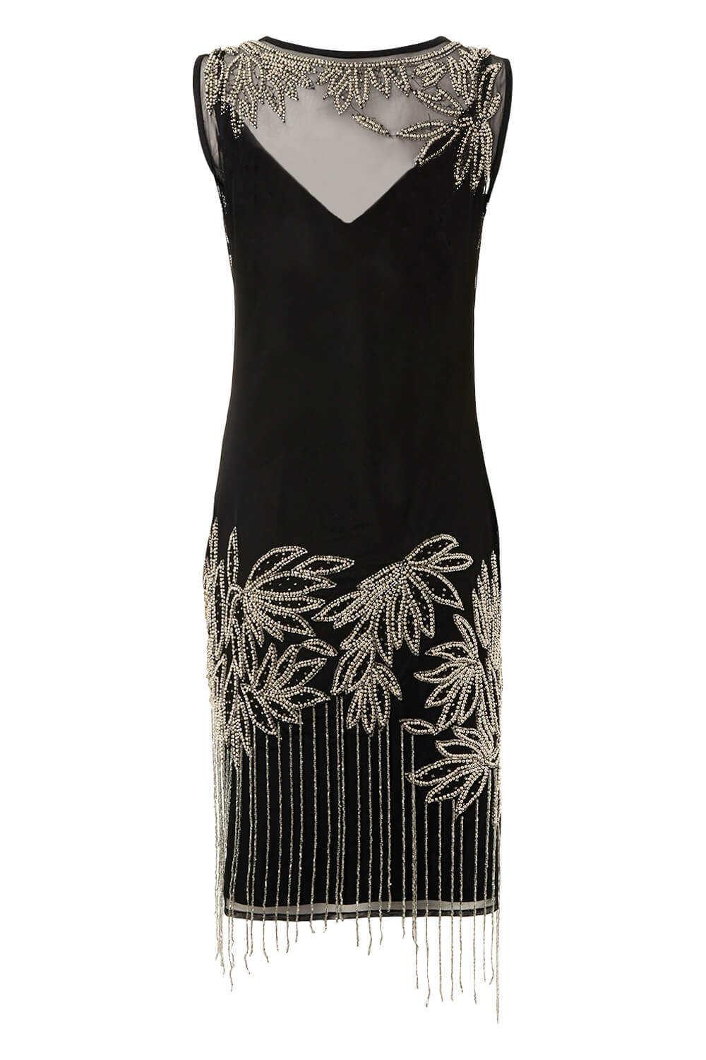 Roman Originals Ladies Embellished Flapper Dress Black 10-20