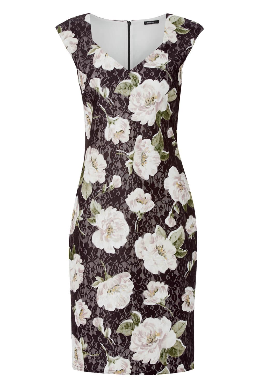 Roman Originals Floral Bonded Lace Floral Dress