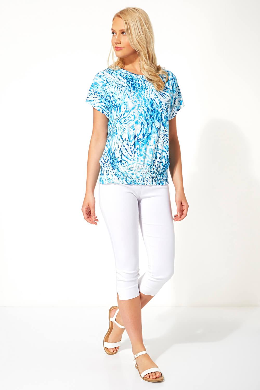 Ladies Women Roman Originals Animal Print Shirred Hem Short Sleeve Top