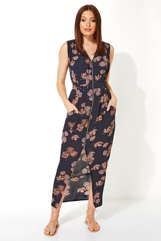 Roman Originals Women Leaf Zip Front Midi Dress