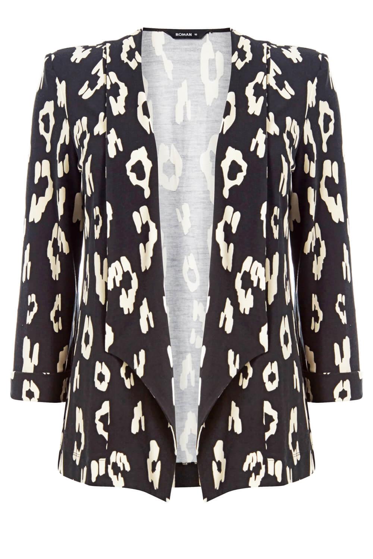 Roman Originals Femmes Imprimé Animal Blazer Jacket
