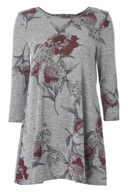 Roman Originals Femmes Gris Imprimé Floral Tunique Tailles 10-20