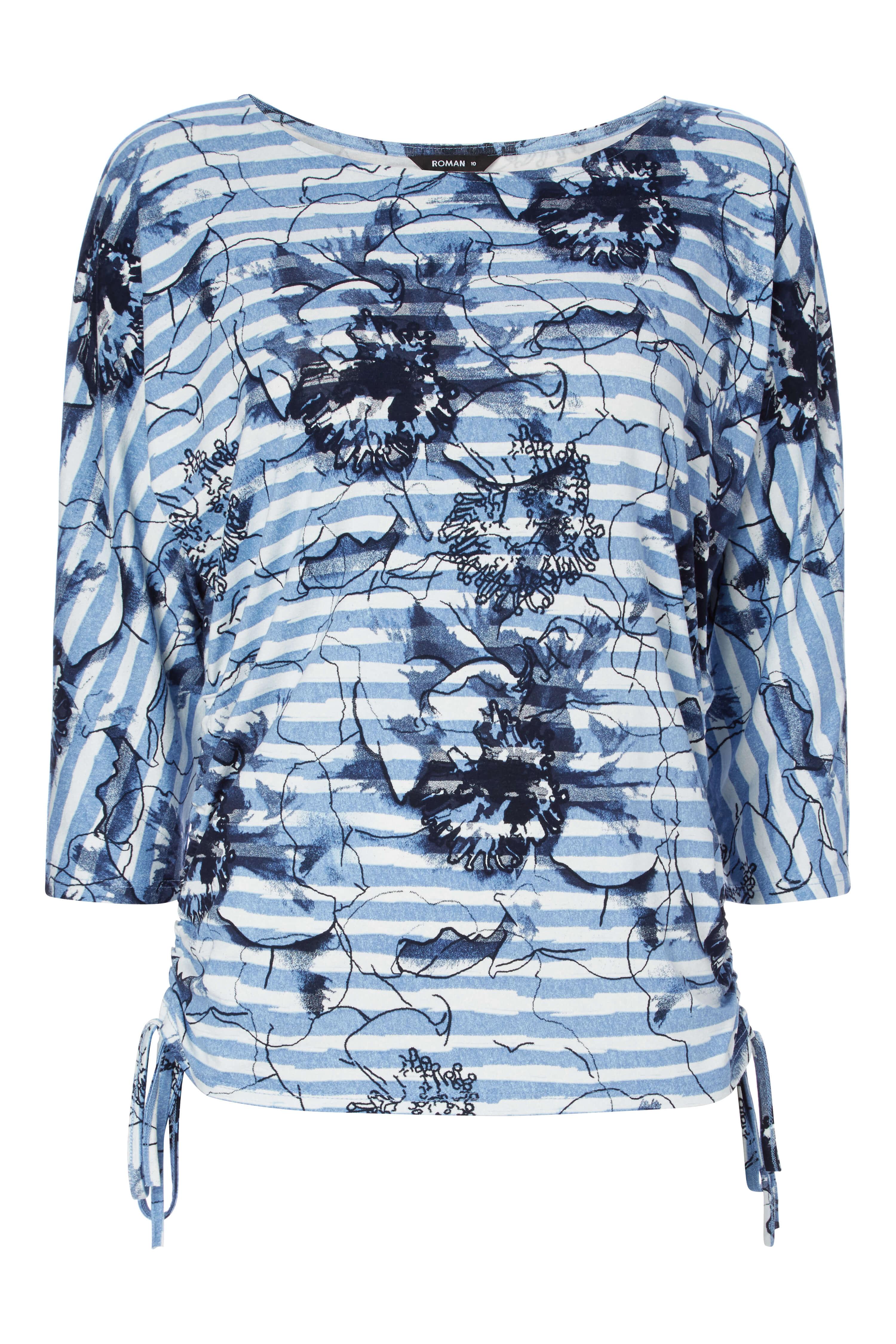 Roman Originals Femme Motif Floral Bleu à Rayures Imprimé Neuf Tailles 10-20
