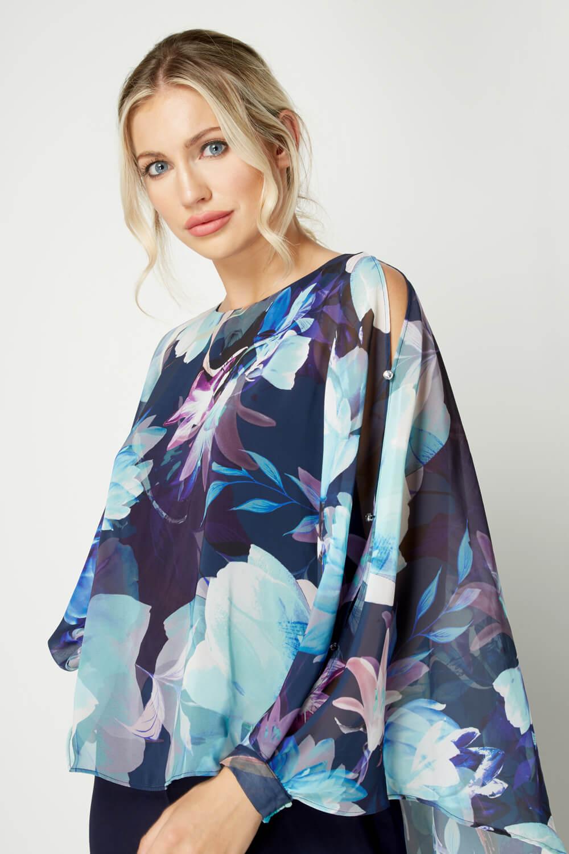 Roman Originals Floral Print Overlay Jumpsuit Navy Blue Sizes 10-20