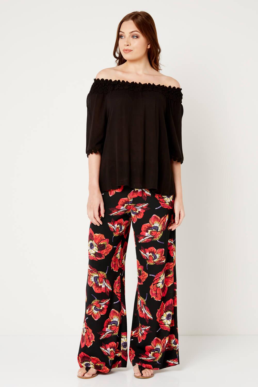 Roman Originals Womens Black Floral Print Palazzo Trousers Sizes 10-20
