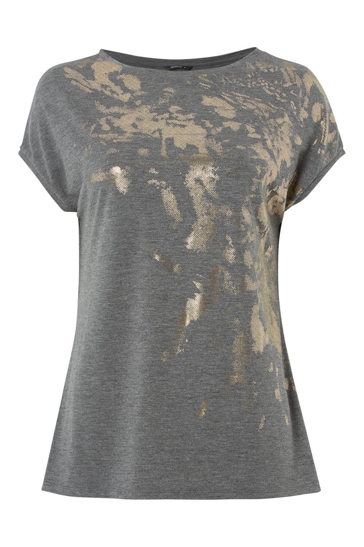 Women Roman Originals Metallic Foil Splatter Print Short Sleeve T-shirt Top