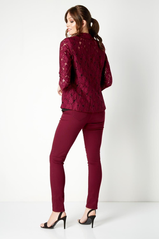 Roman Originals Women Lace Jacket in Burgundy sizes 10-20