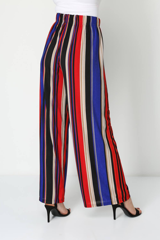 Roman Originals Women Stripe Crinkle Palazzo Trousers