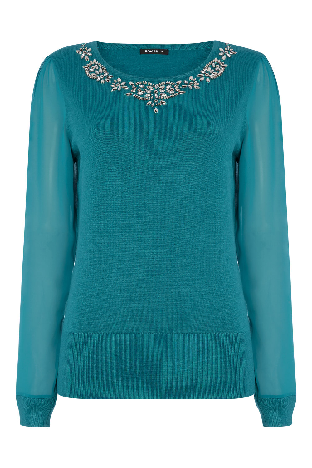 Roman Originals Ladies Embellished Chiffon Sleeve Jumper Teal