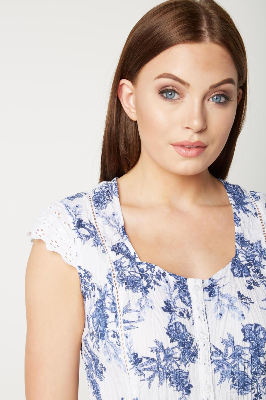 Roman Originals Womens Blue Floral Crinkle Blouse Sizes 10-20