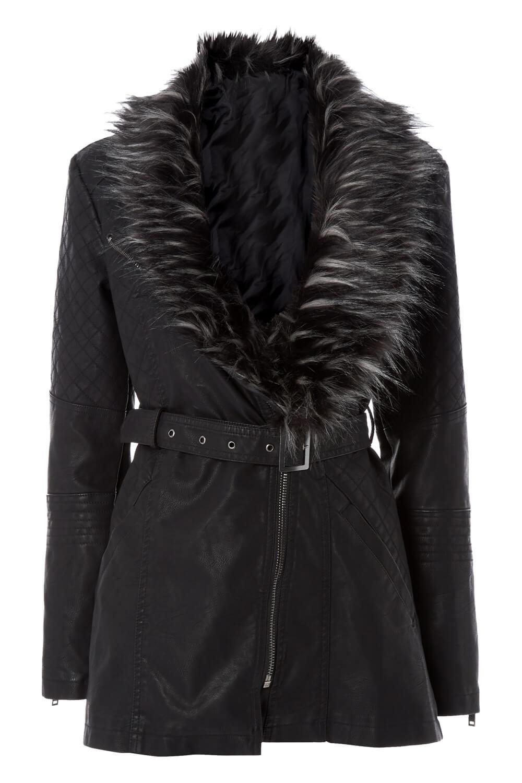 Roman Originals Women Faux Leather Faux Fur Trim Coat