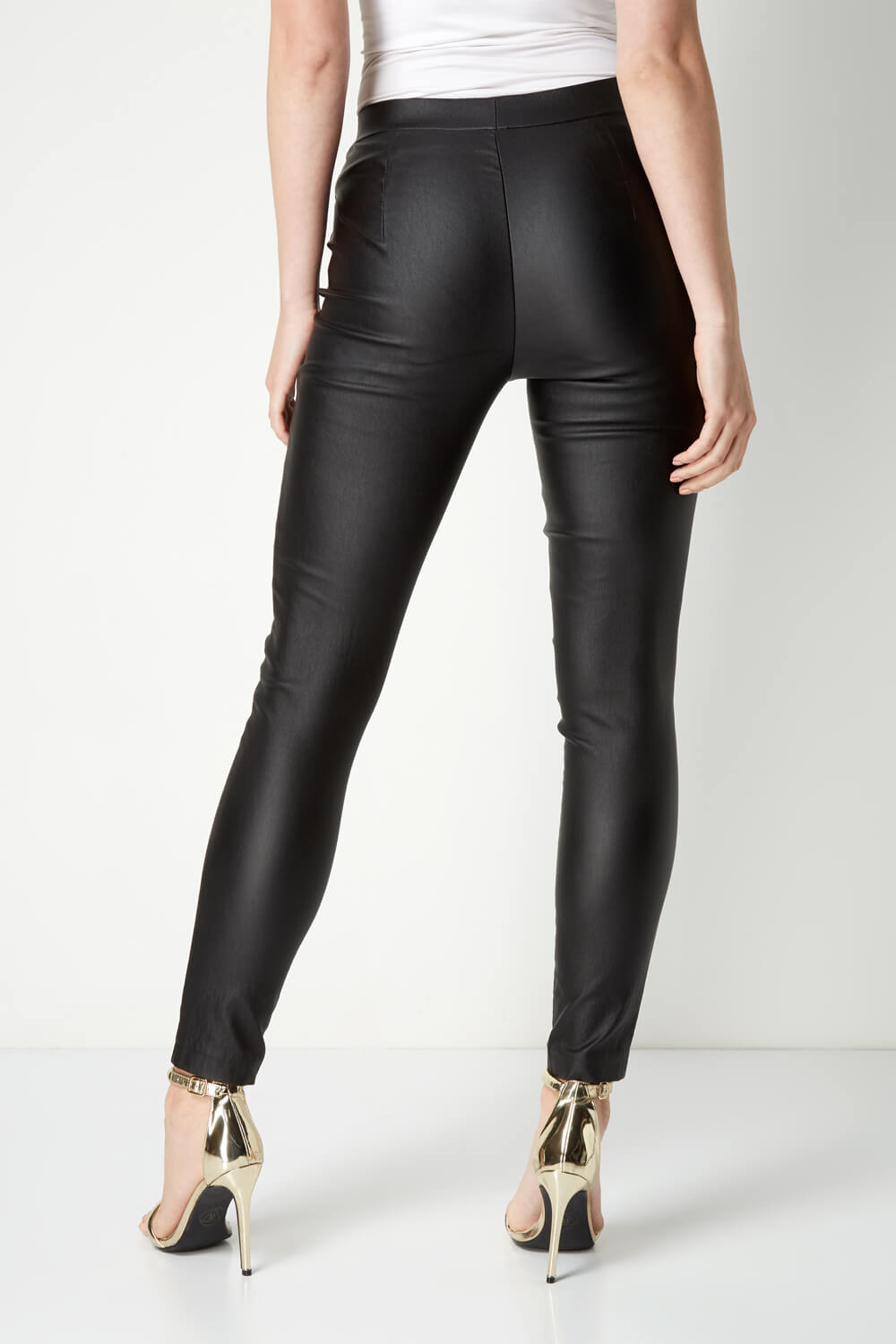 Roman Originals Women Pull On Faux Leather Tall Length Trouser