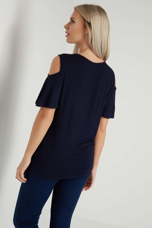 Roman Originals Women/'s Pearl Cold Shoulder Top Sizes 10-20