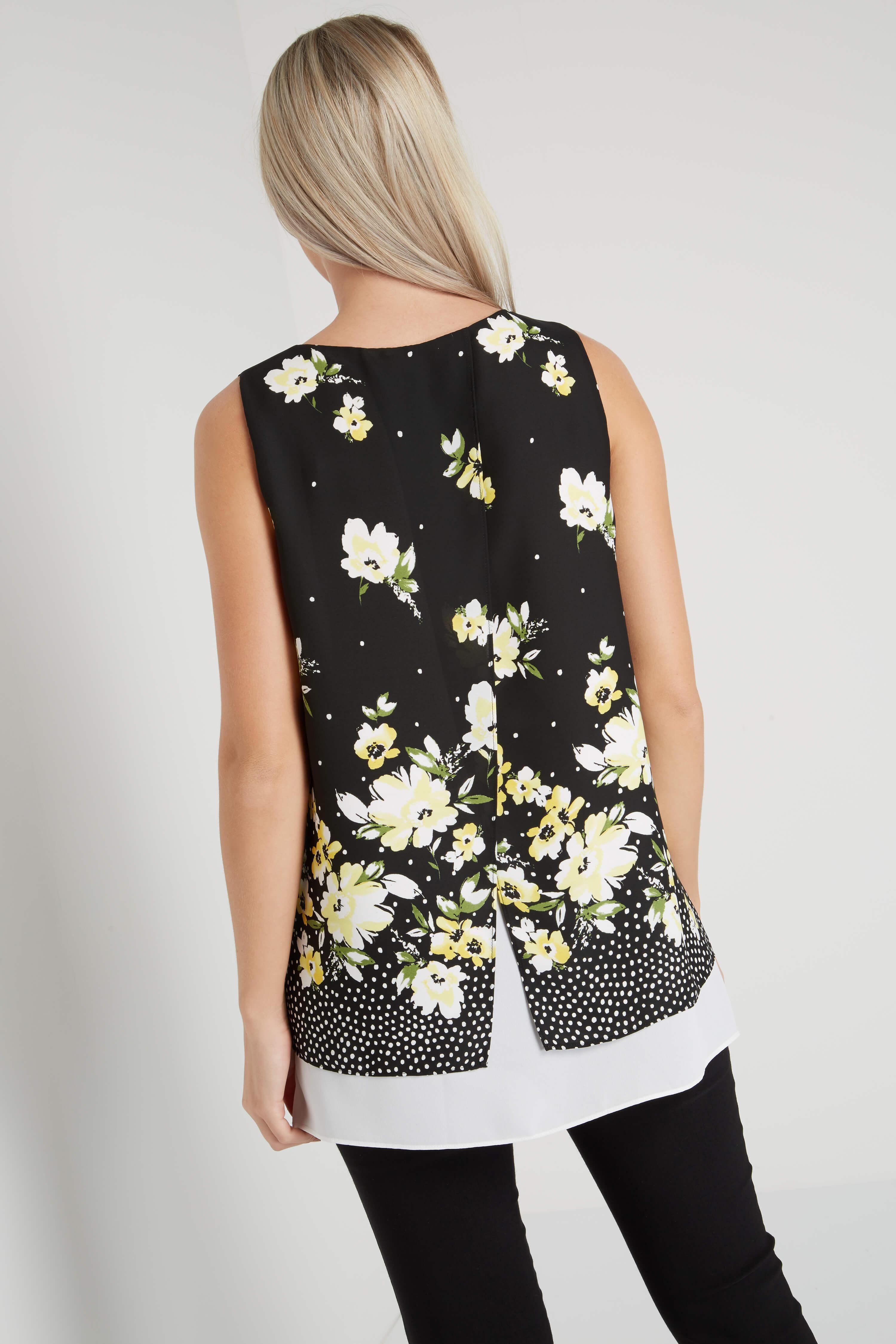 Roman Originals Women/'s Black Floral Print Overlay Top Sizes 10-20