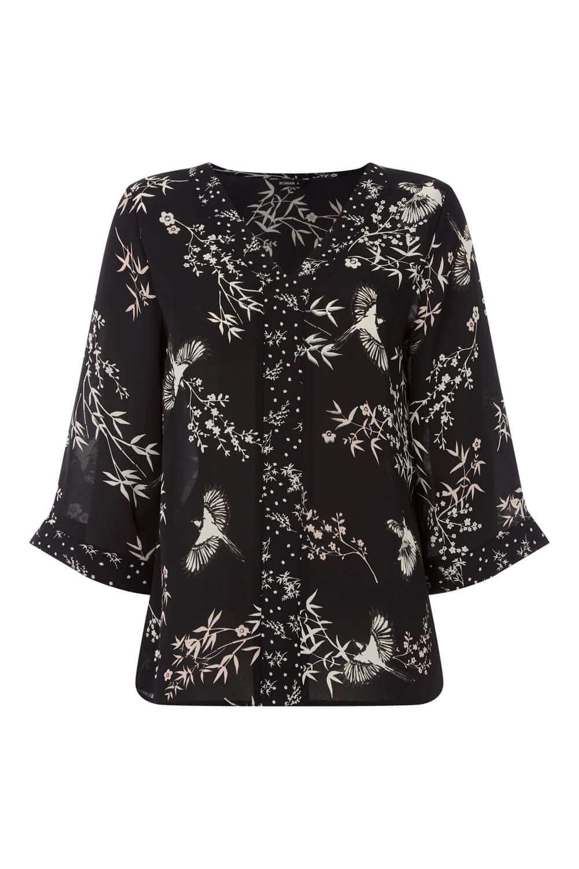 Roman Originals Women Floral Bird Print Kimono Contrast Top