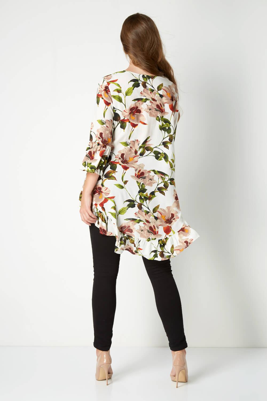 Roman Originals Women/'s Drop Hem Floral Top Sizes 10-20