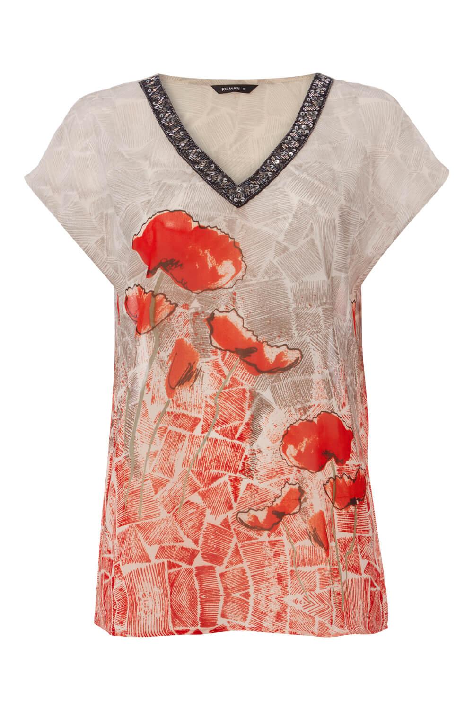 Roman Originals Women/'s Poppy Print V-Neck Top Sizes 10-20