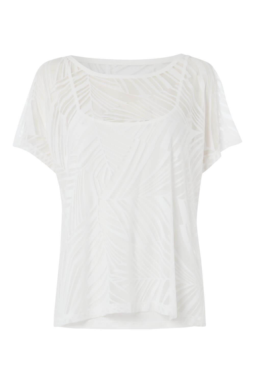 Roman Originals Womens Burnout Overlay Short Sleeve Top