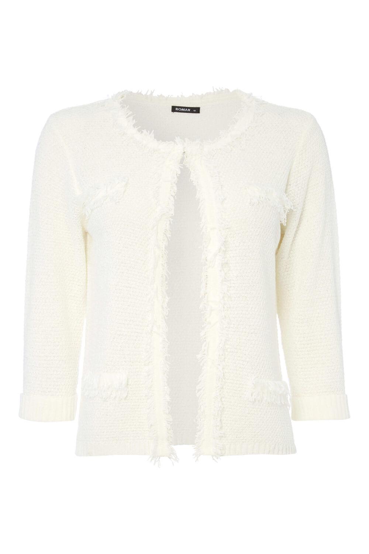 Roman Originals Women/'s White Fluffy Knitted Cardigan Sizes 10-20