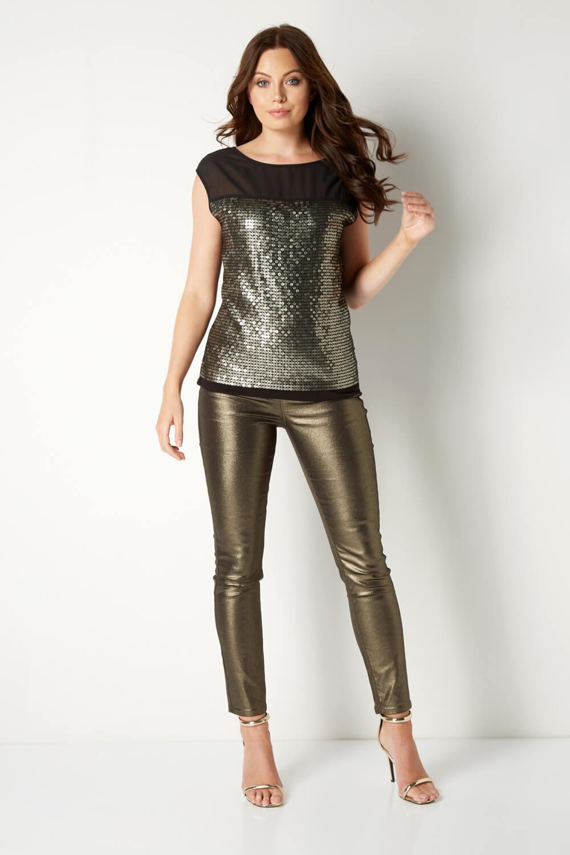 Roman Originals Donna Gold Glitter Jegging Jeans Pantaloni Cotone Mix Festa