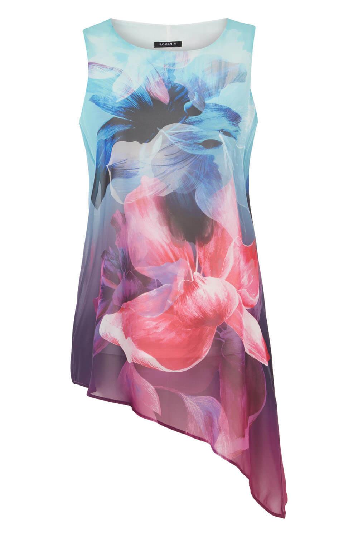 Sans manches imprimé floral en mousseline de soie Top Holiday-Mesdames Femmes Roman Originals