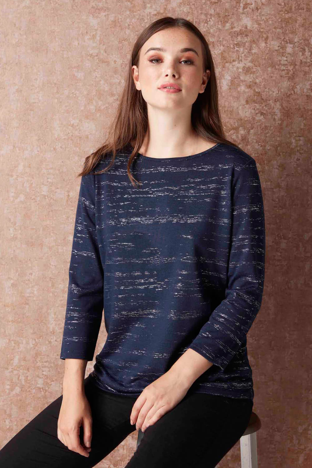 Roman Originals Women Foil Print 3//4 Sleeve Top in Navy sizes 10-20