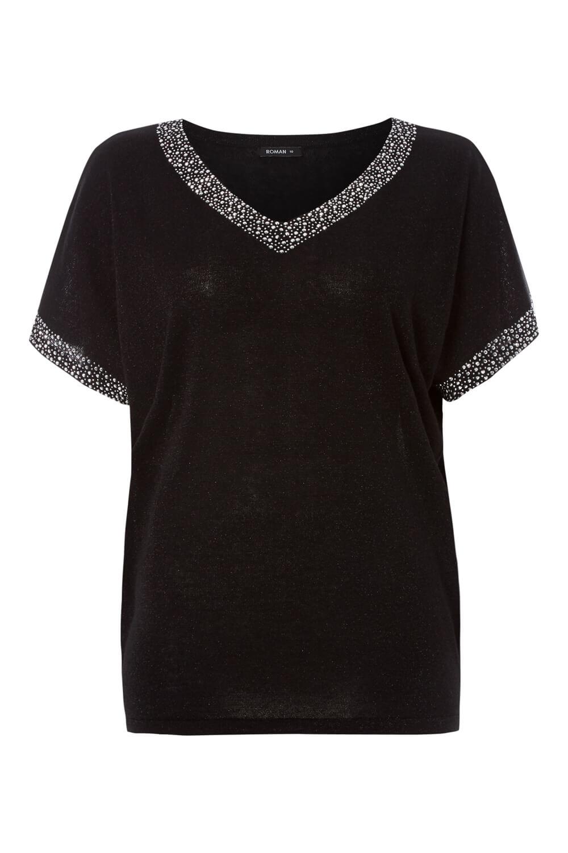 Roman Originals Women/'s Embellished Batwing T-shirt