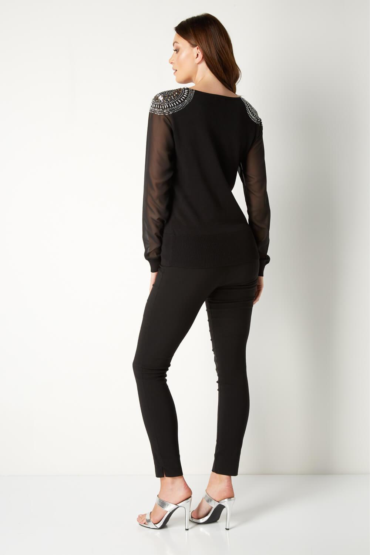 Roman Originals Women Embellished Shoulder Jumper