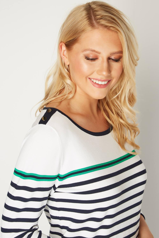 Roman Originals Women Stripe Button Detail Tunic Jumper