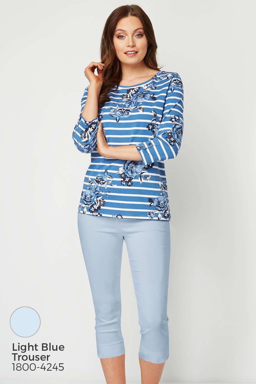 Roman Originals Women 95/% Cotton Stripe Floral Basic Top