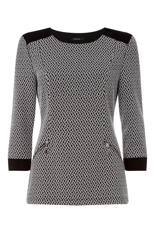 Roman Originals Women 3//4 Sleeve Textured Top in Black sizes 10-20