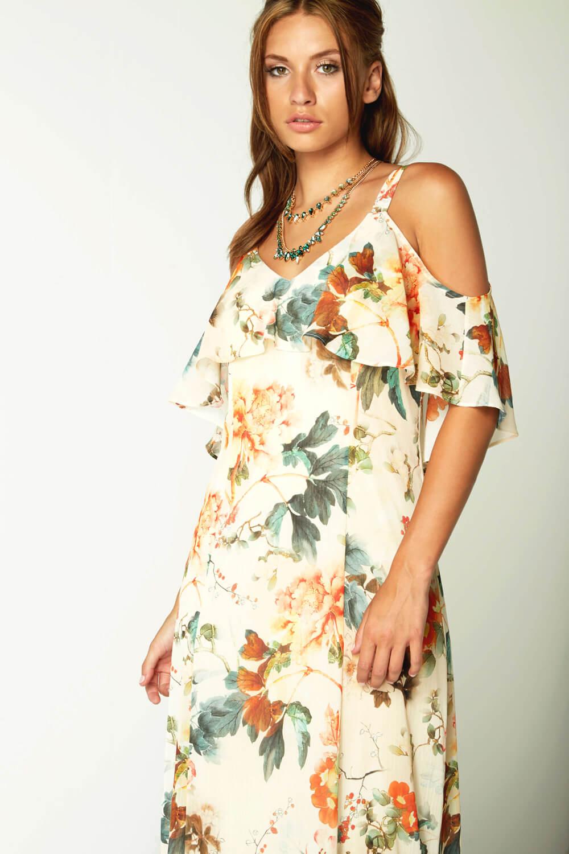 Roman Originals Ladies Oriental Cold Shoulder Chiffon Maxi Dress Orange