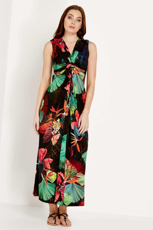 Roman Originals Womens V-Neck Tropical Print Maxi Dress Holiday Summer Vacation
