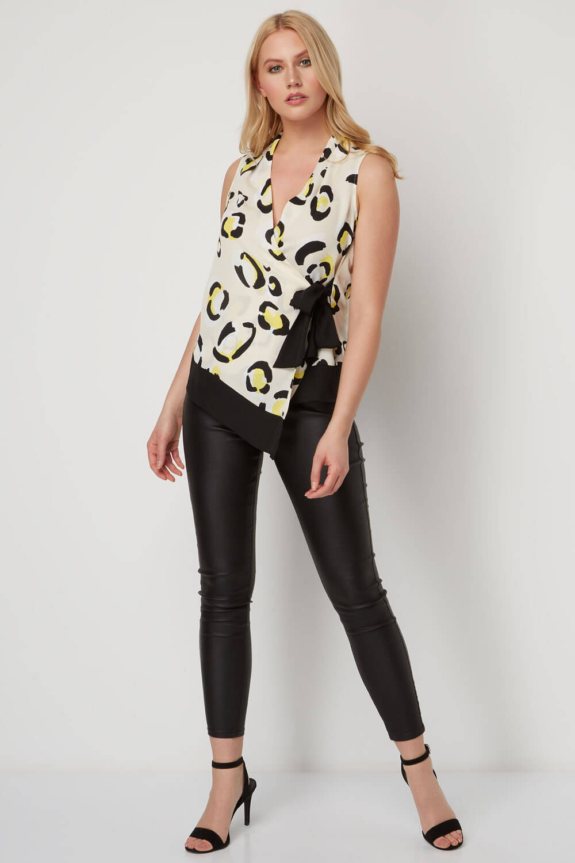 V-Neck Animal Print Wrap Side Tie Casual Party Top Ladies Women Roman Originals