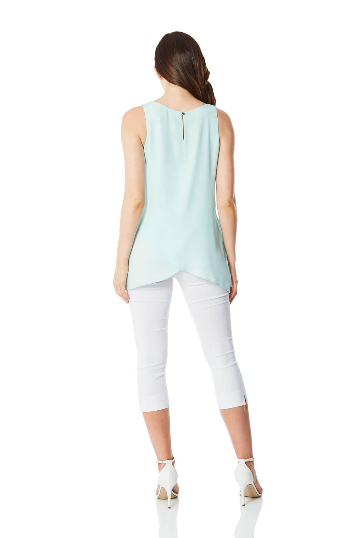 Ladies Women Roman Originals Sleeveless Chiffon Overlay Day Holiday Vest Top