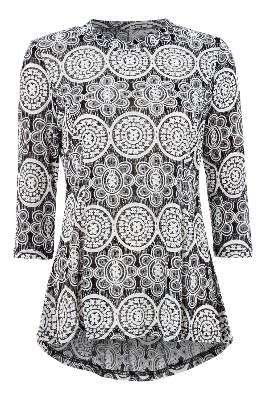 Roman Originals Women Lace Print Dipped Hem Top