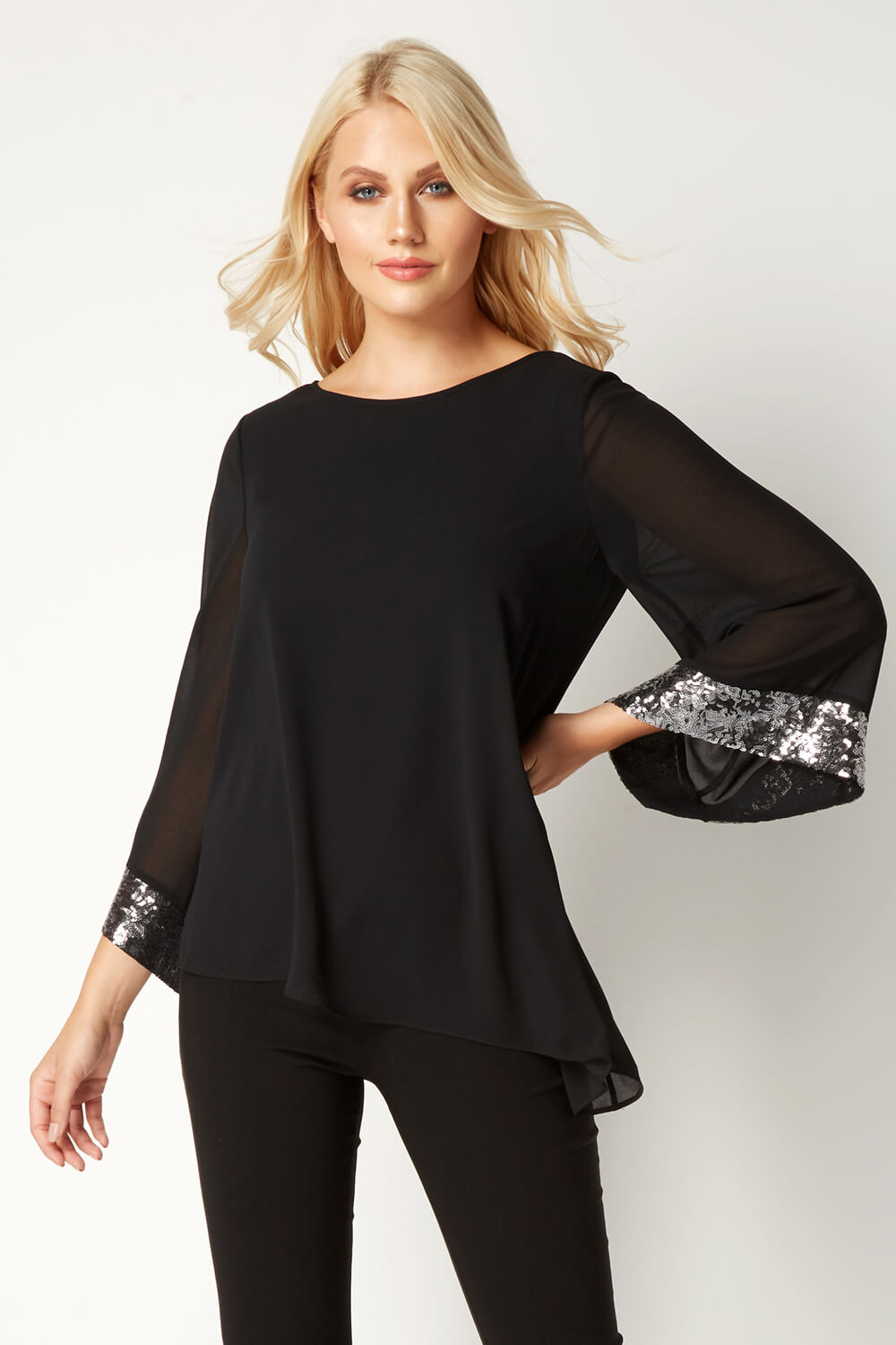 Roman Original Women Asymmetric Overlay Sequin Top in Black sizes 10-20