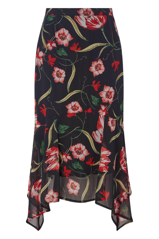 Roman Originals Womens Black Floral Print Chiffon Midi Skirt Sizes 10-20