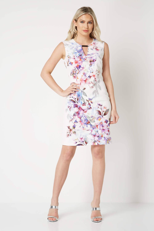 Roman Originals Women/'s Ivory Floral Scuba Dress Sizes 10-20