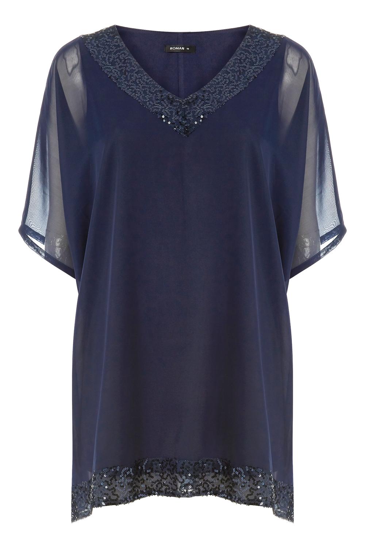 Ladies Women Roman Originals Sequin V-Neck Short Sleeve Overlay Party Top